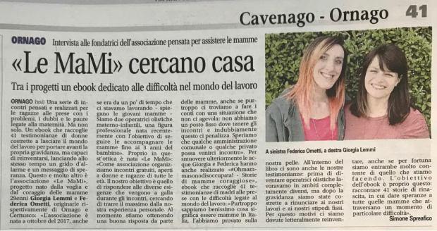 ARTICOLO Giornale di Vimercate 17042018